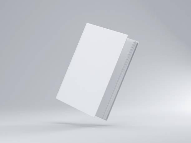 blanc légèrement ouvrir le livre maquette avec couvercle dur texturé - mockup photos et images de collection