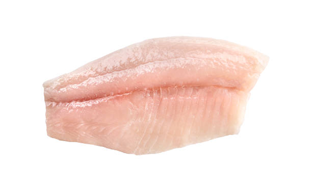 white small fish fillet Half carcass of white small fish fillet isolated on white background perch fish stock pictures, royalty-free photos & images