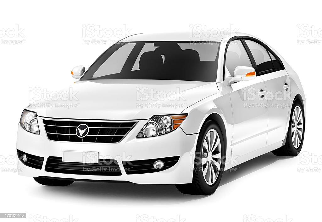 white Smart car royalty-free stock photo