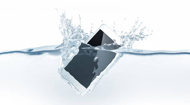 White smartphone mock up sinks in water, 3d rendering stock photo