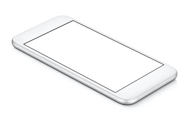 White smartphone mockup CCW rotated lies on the surface with blank screen isolated on white stock photo