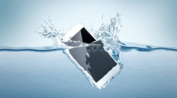 White smartphone mockup fall in water stock photo