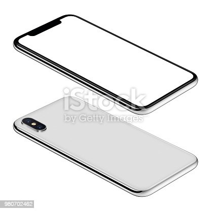 istock White smartphone mockup front and back sides isometric view CCW rotated lies on surface 980702462