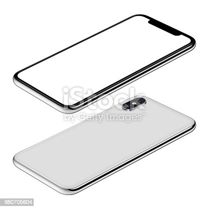 istock White smartphone mockup front and back sides isometric view CW rotated lies on surface 980705604
