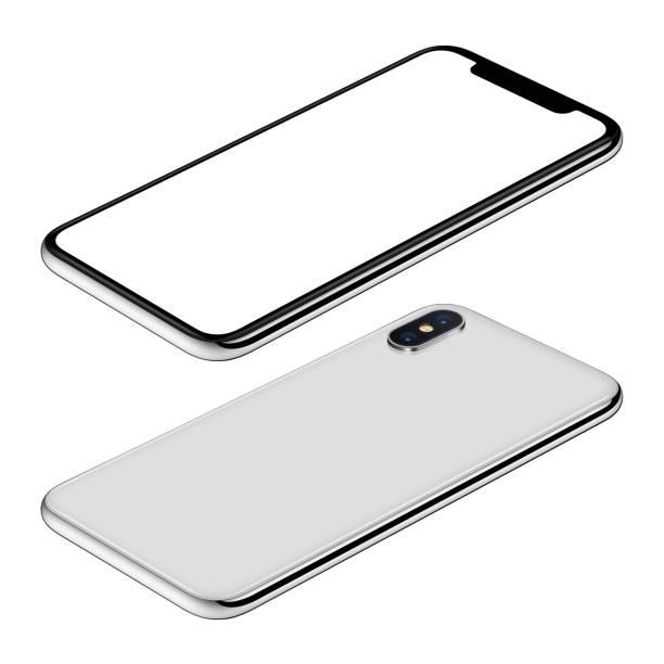 Blanc smartphone maquette avant et isométrique de côtés arrière Découvre CW rotation mensonges sur surface - Photo