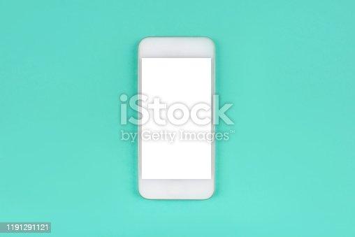 1161116588istockphoto White smartphone on mint background. 1191291121