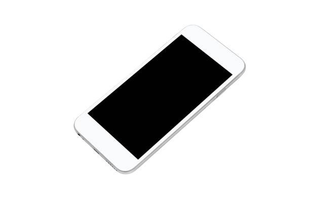 weißes smartphone mit schwarzem leerbildschirm ist auf weißem hintergrund isoliert. clipping pfad eingebettet. - tablet mit displayinhalt stock-fotos und bilder