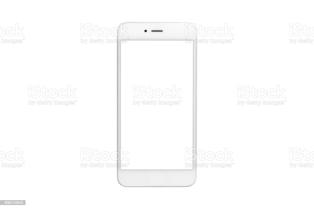 White smartphone with blank screen on isolated white background stock photo