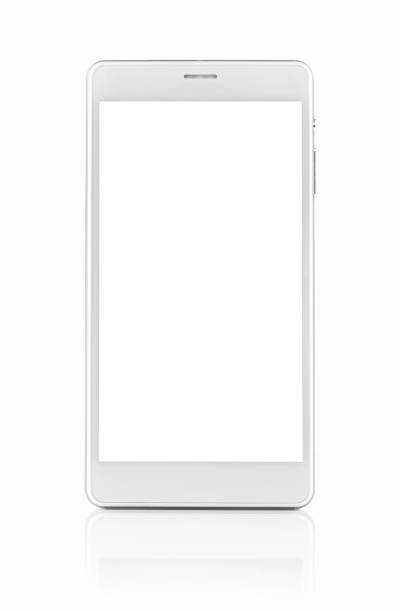 White smartphone with blank screen stock photo