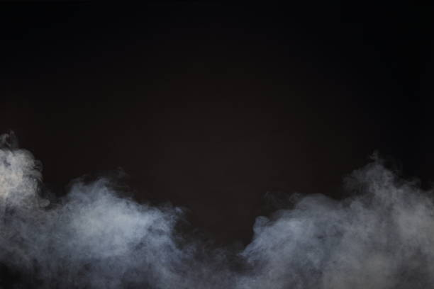 white smoke and fog on black background, abstract smoke clouds - fog stock pictures, royalty-free photos & images