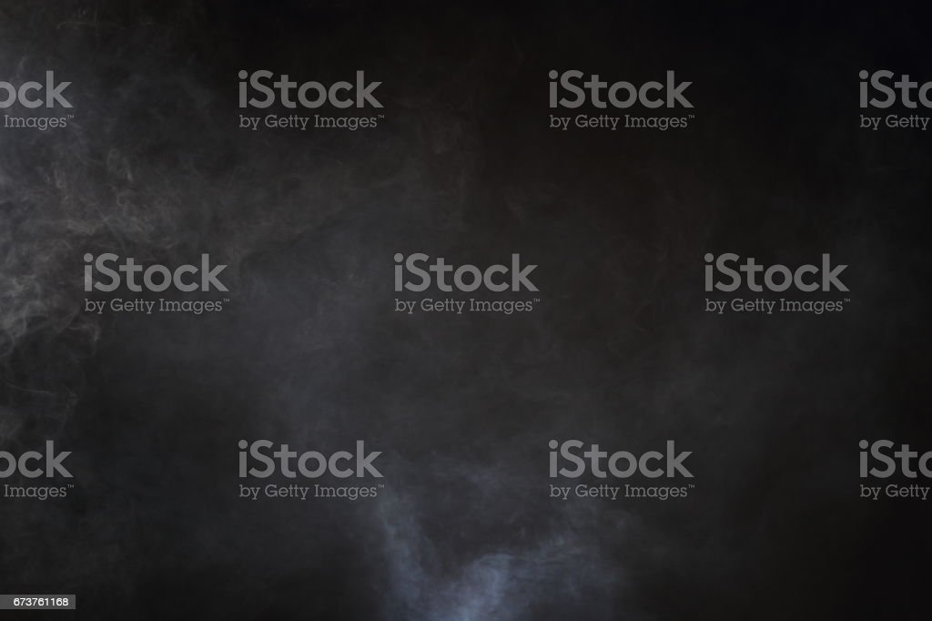 White Smoke and Fog on Black Background, Abstract Smoke Clouds stock photo