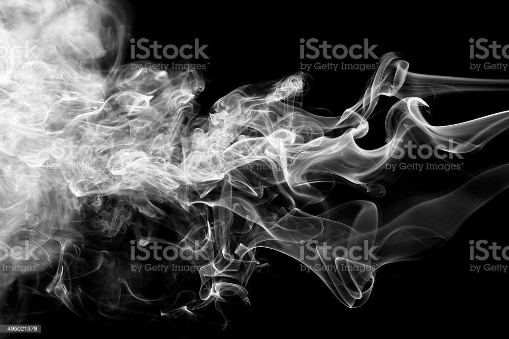 White smoke collection on black background stock photo