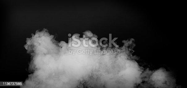 istock White smoke isolated on black background 1136737585