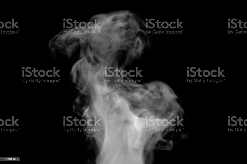 White smoke on black background, 3D rendering stock photo