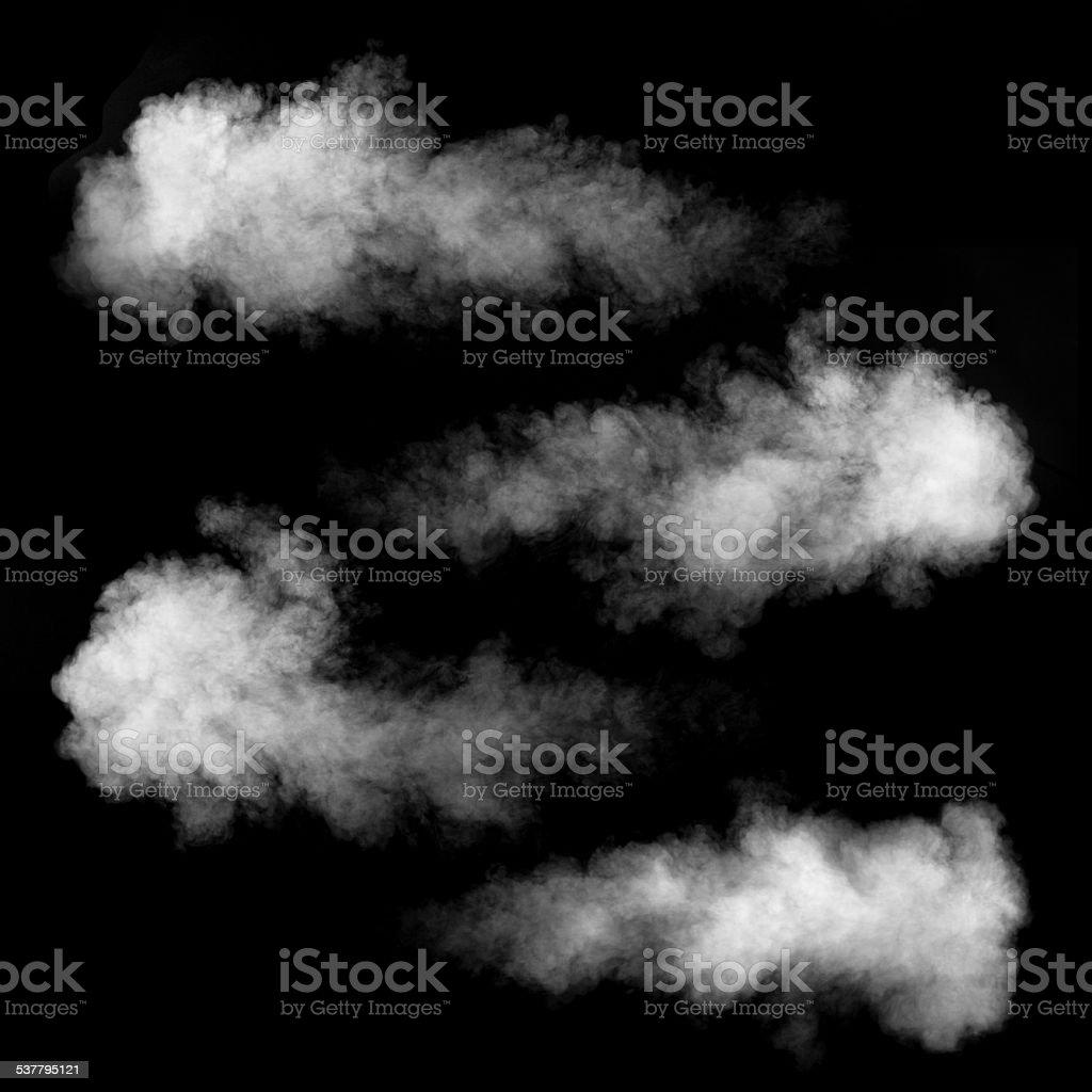 Weißer Rauch set, isoliert auf Schwarz – Foto