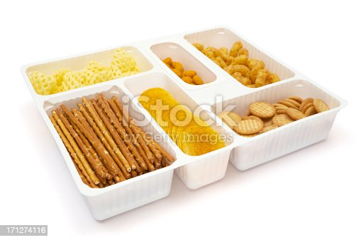 istock White snack tray filled with chips cracker and pretzels 171274116
