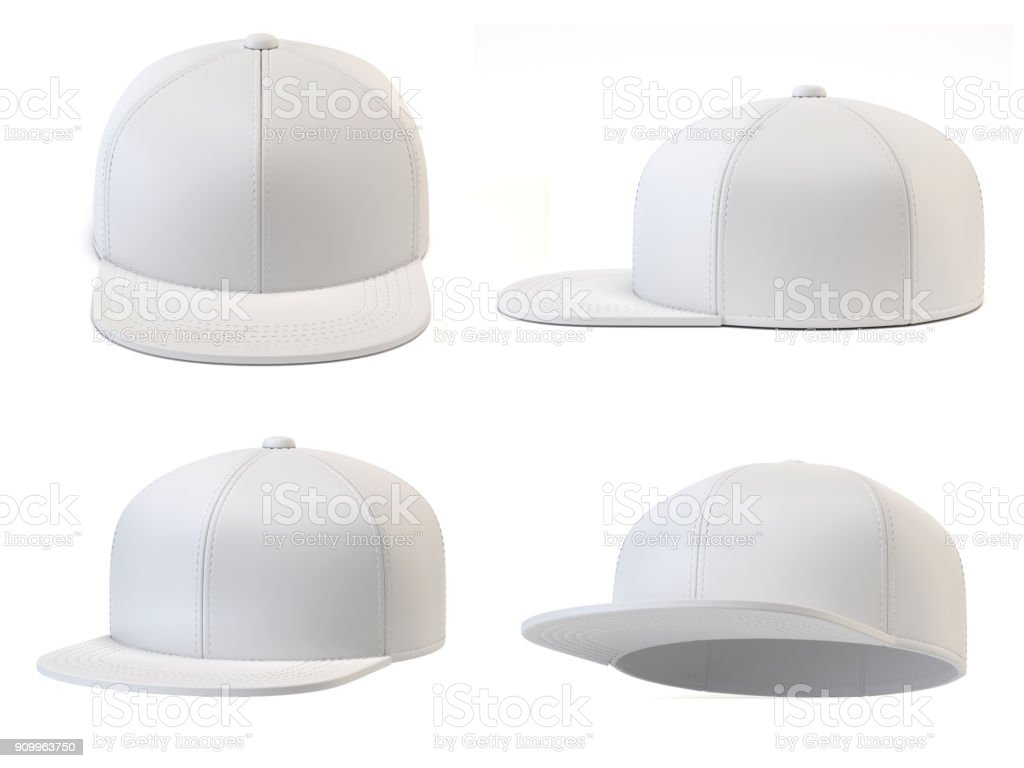 White snap back mock up, blank hat template, various views, isolated on white background 3d rendering stock photo