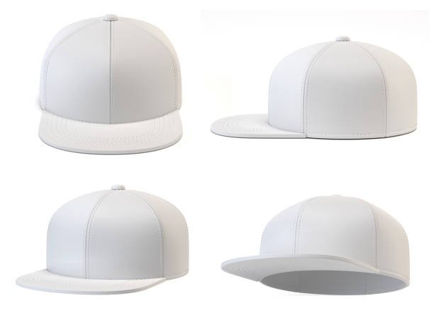 white snap back mock up, blank hat template, various views, isolated on white background 3d rendering - czapka zdjęcia i obrazy z banku zdjęć