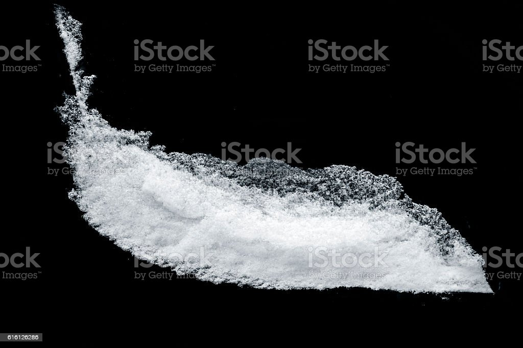White snow pattern isolated on black backround stock photo