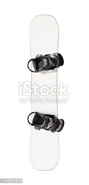 istock White snowboard with bindings 1142271575