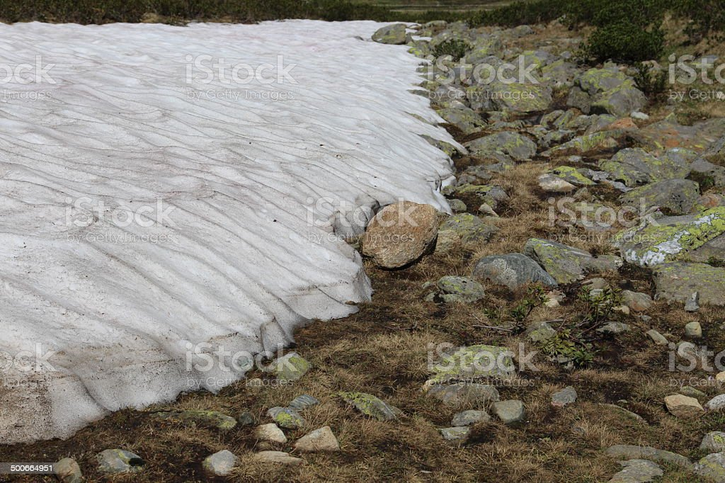 White Snowfield and Rocks in the Austrian Alps stock photo