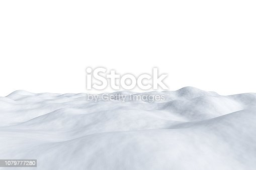 White snowy field with hills and smooth snow surface isolated on white background, winter arctic minimalist 3d illustration.