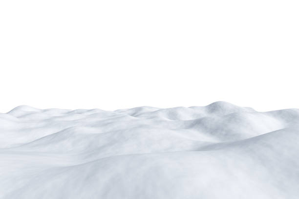 campo cubierto de nieve blanco aislado en blanco. - nieve fotografías e imágenes de stock