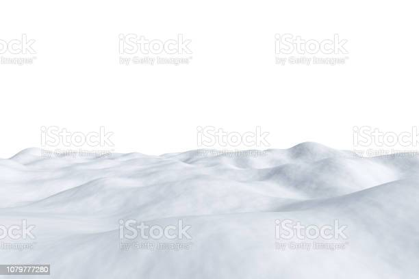 Photo of White snowy field isolated on white.
