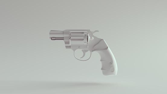 White Snub Nosed Pistol 3d illustration render