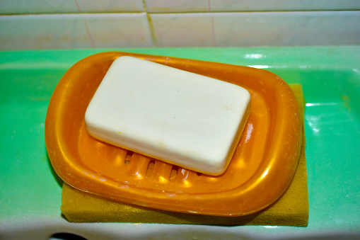 White soap in the bathroom on a plastic backing