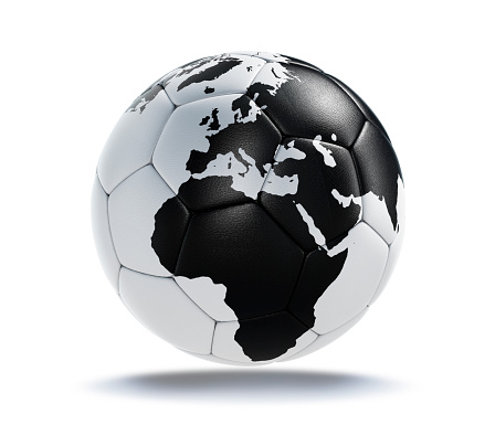 White soccer ball with black earth map