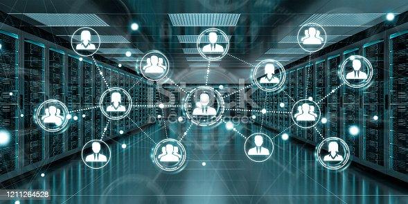 640248524 istock photo White social network over server room data center interior 3D rendering 1211264528