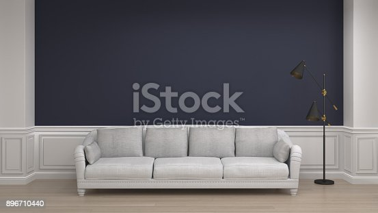 988616560 istock photo white sofa and floor lamp in living room minimal classic style interior background,3D rendering empty wall 896710440