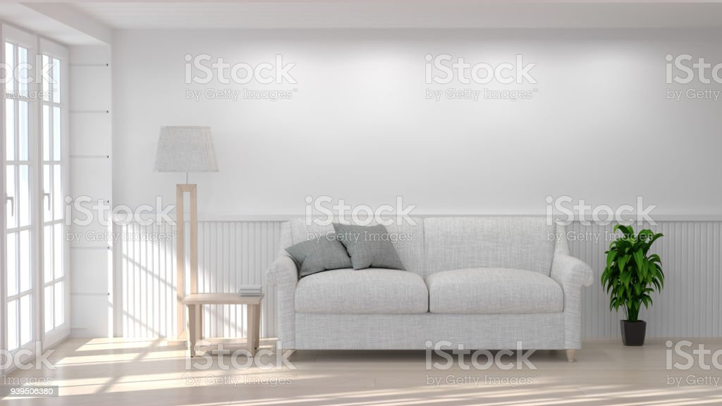 White sofa and lamp in room 3D illustration clean white wall interior...