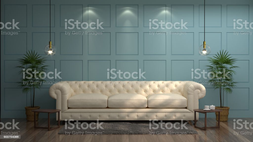 White sofa in front of green wall white lamp and sideboard in vintage empty room 3d rendering luxury living room modern mid century room interior stock photo