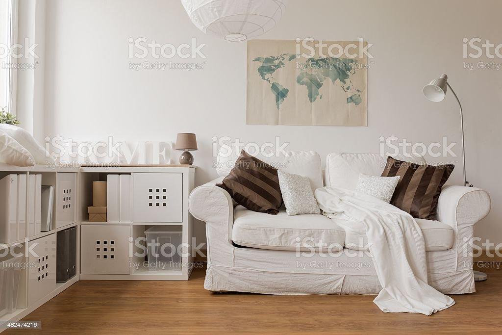 White sofa in living room stock photo