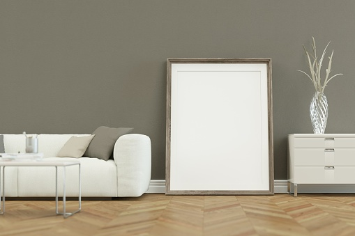 White Sofa In Modern Scandinavian Design With Grey Wall Stock Photo -  Download Image Now