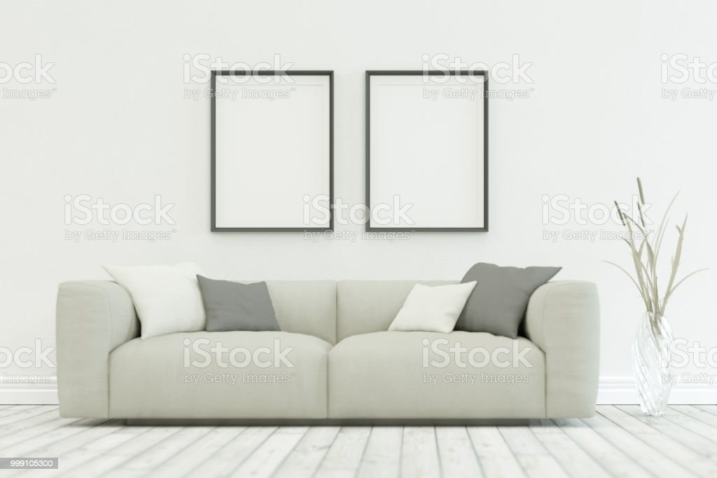 White Sofa In Modern Scandinavian Design With Two Frames Stock Photo -  Download Image Now