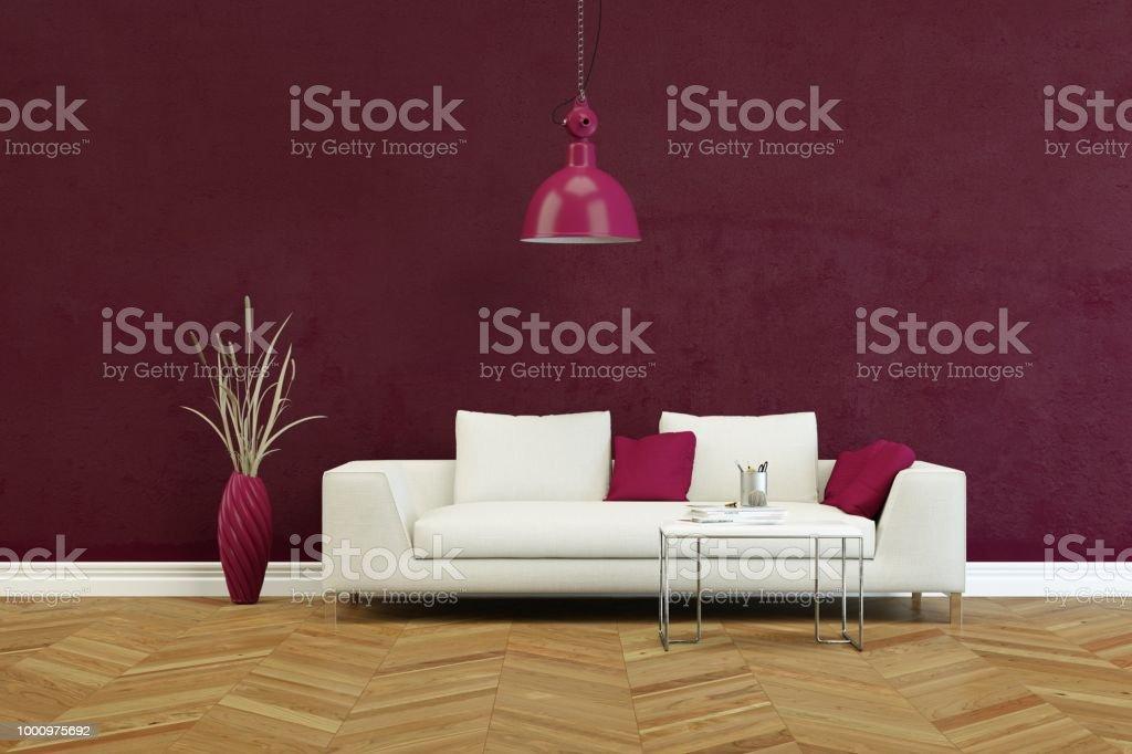 White sofa in modern scandinavian interior design 3D Rendering