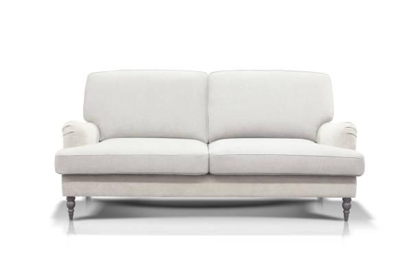 beyaz arka plan üzerinde izole beyaz kanepe - kanepe stok fotoğraflar ve resimler