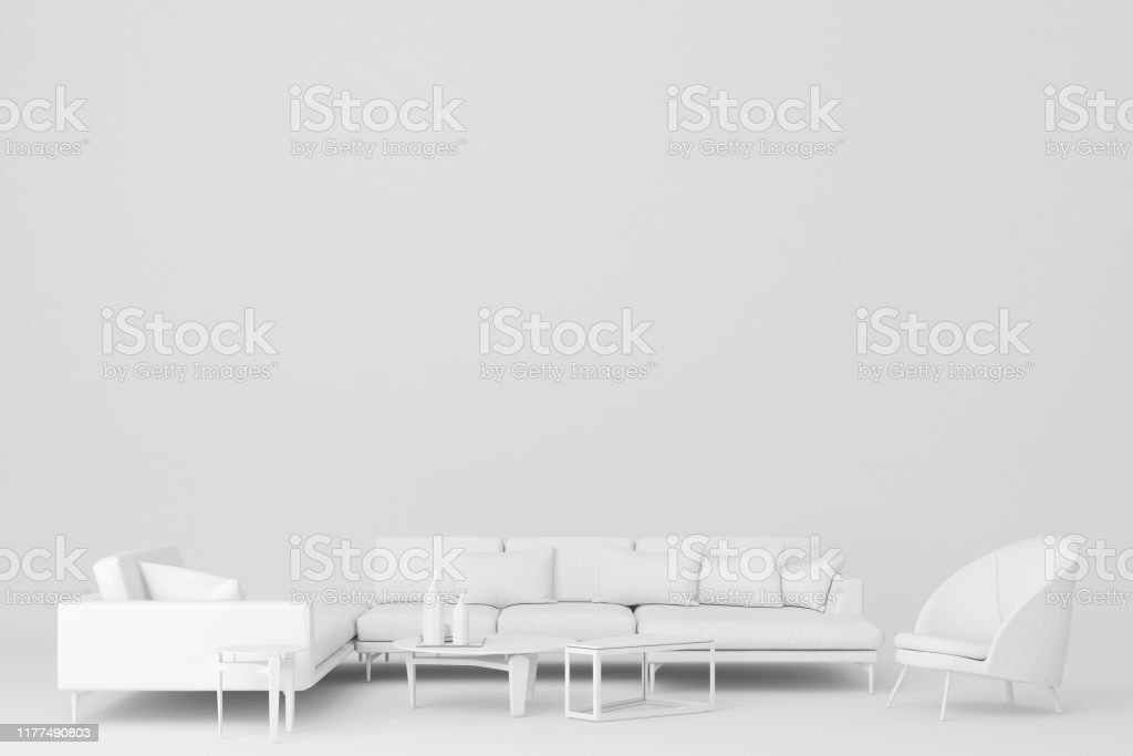 white sofa l shape and armchair3d rendering stock photo download image now istock https www istockphoto com photo white sofa l shape and armchair 3d rendering gm1177490803 328745274