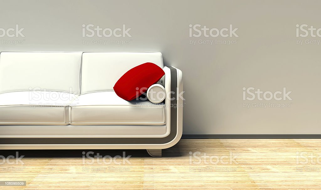 White sofa on the parquet royalty-free stock photo