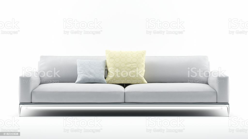 Phenomenal White Sofa With Pillows Stock Photo Download Image Now Squirreltailoven Fun Painted Chair Ideas Images Squirreltailovenorg
