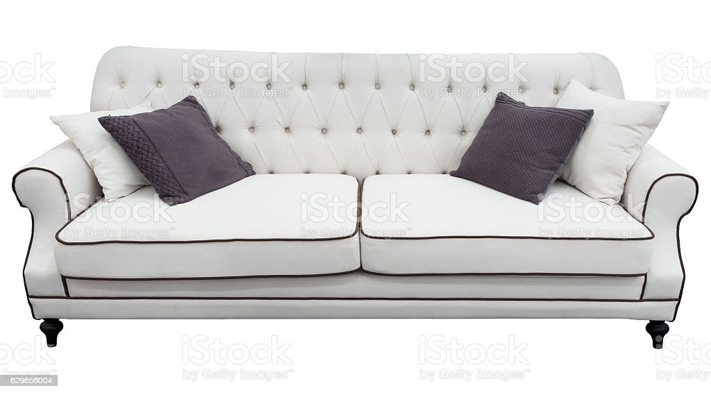 White Sofa With Pillows Soft Couch Isolated Background Classic Divan