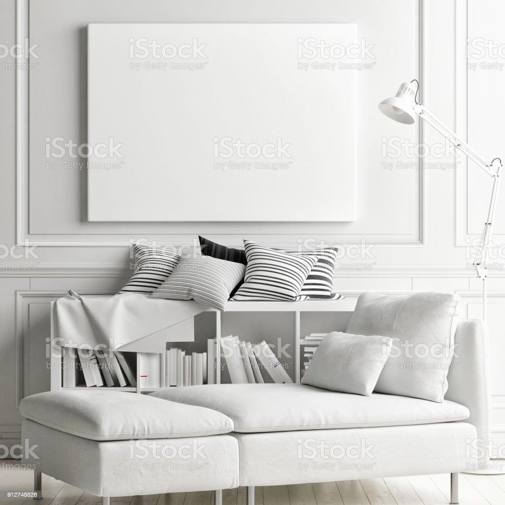 Weißen weichen inneren mit Mock-up Poster an Wand – Foto