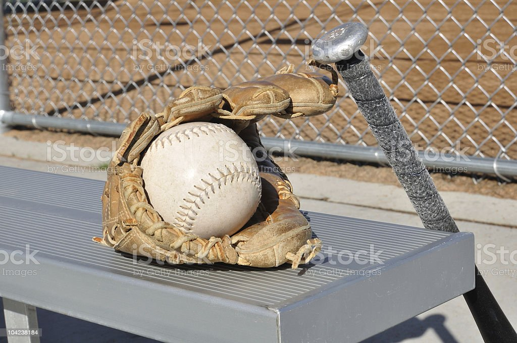 White Softball, Bat, and Glove stock photo