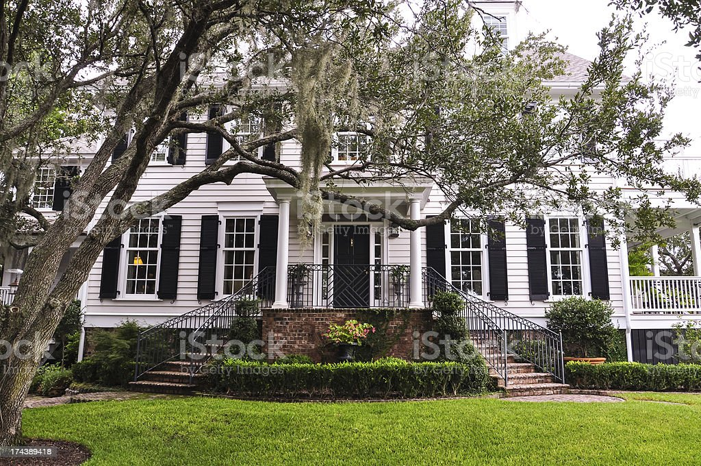 white southern mansion stock photo
