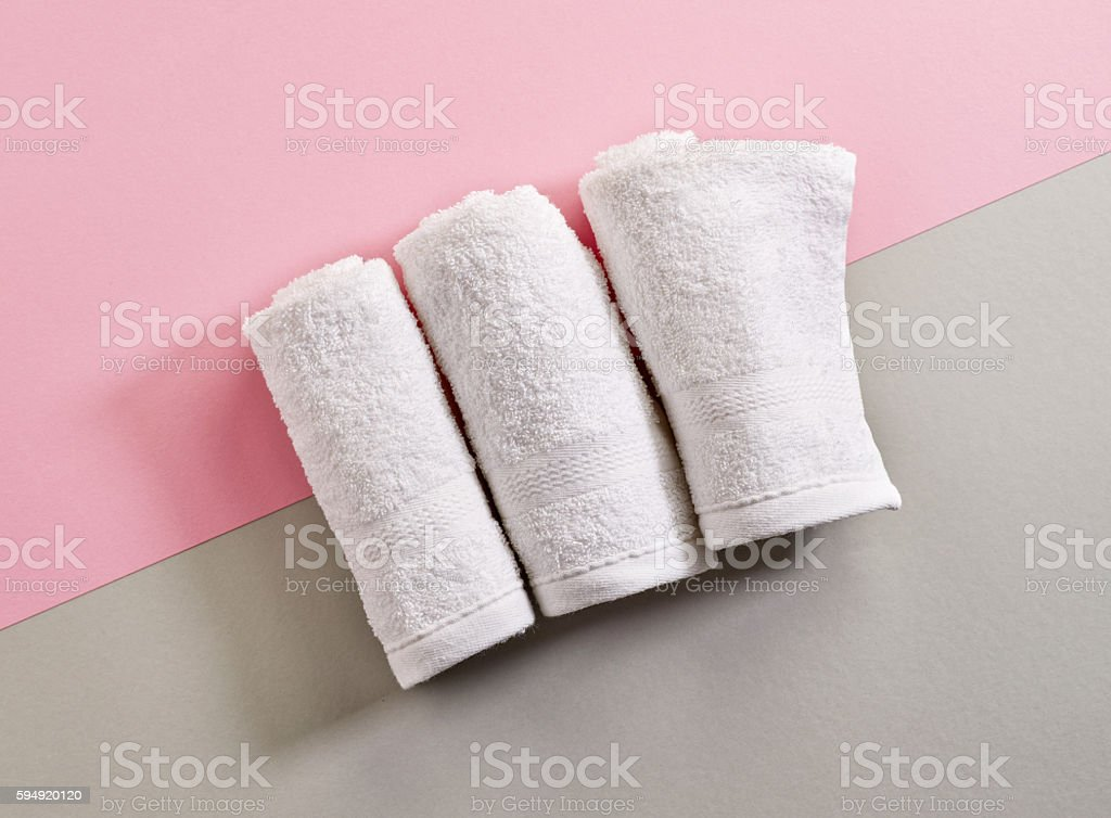 white spa towels stock photo