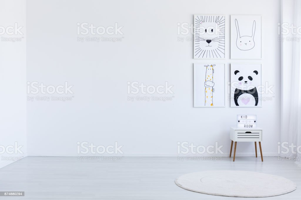 White spacious autistic kid's room stock photo