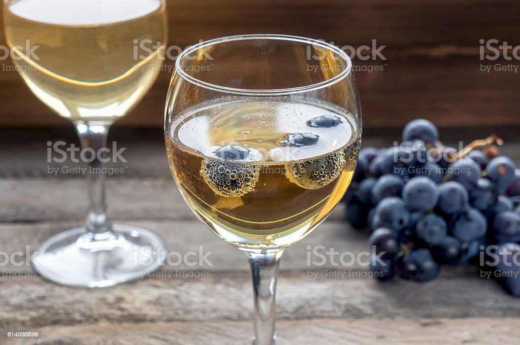 White sparkling wine stock photo
